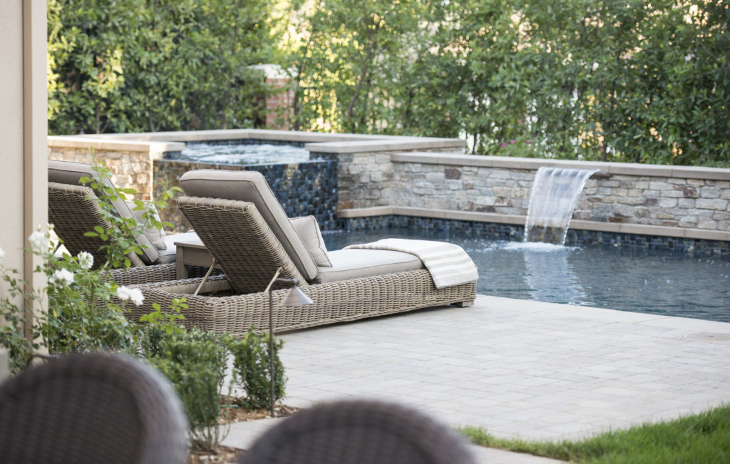 Westlake traditional four point design build - How to build a swimming pool waterfall ...